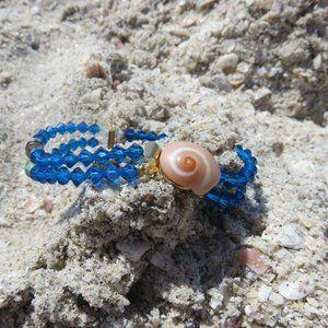 Moon Shell Mermaid Blue Crystal Bracelet Handcraft